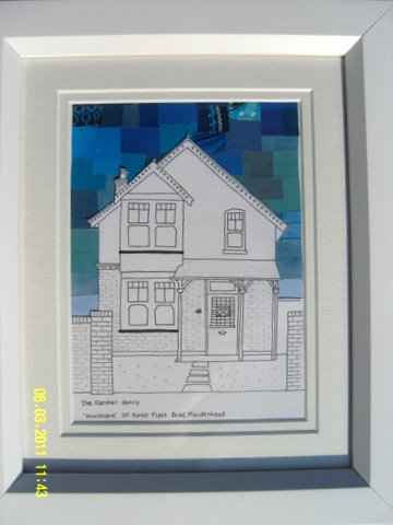 Our house in ink and collage