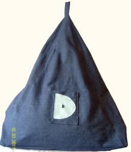 Blue denim beanbag