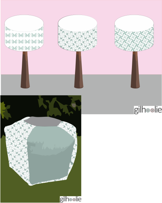 gilhoolie pouffe and lampshades