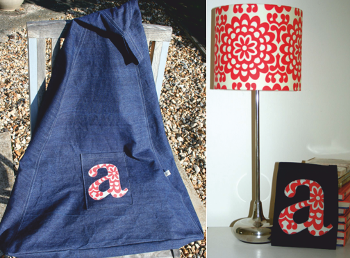 Matching gilhoolie beanbag and lampshade