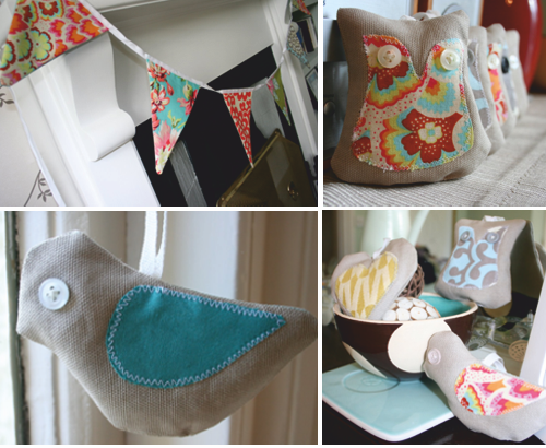 Birds, owls, hearts and bunting
