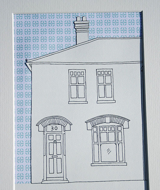 House drawing with gilhoolie pattern sky