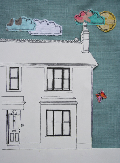 Embroidered sky house picture