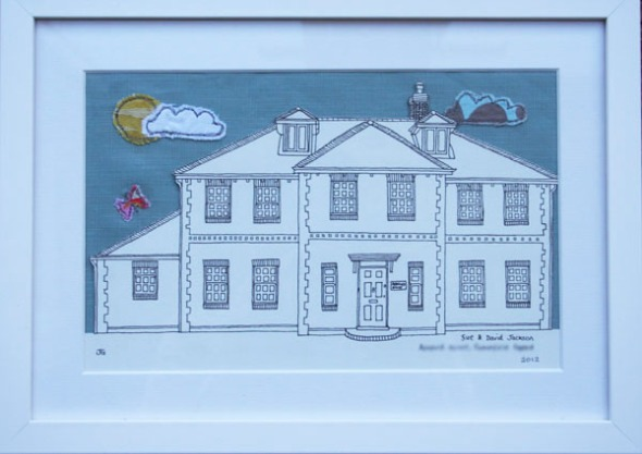 Embroidered sky house