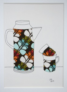 Seventies coffee pot and cups
