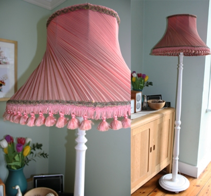 antique lampshade and base