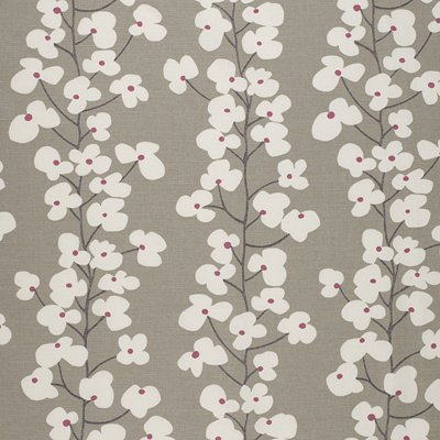 Wallflower fabric in magenta and grey