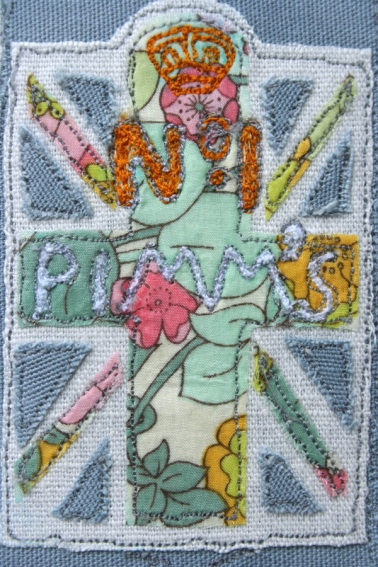 Pimms machine embroidered closeup