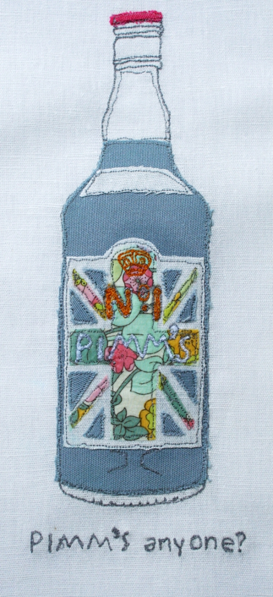 Pimms machine embroidered