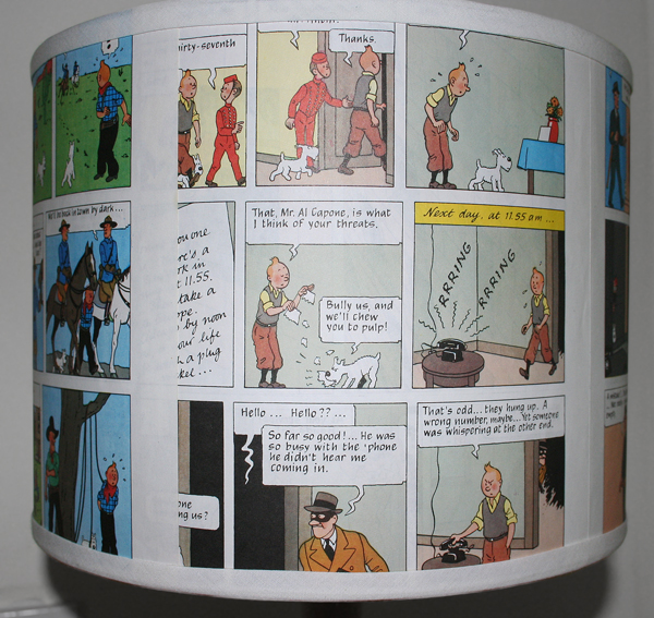 tin tin lampshade closeup