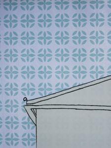 gilhoolie pattern sky in duck egg blue printed on paper