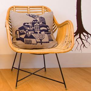 Maxine Sutton Old Town screen printed cushion