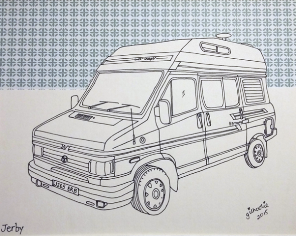 camper van drawing commission