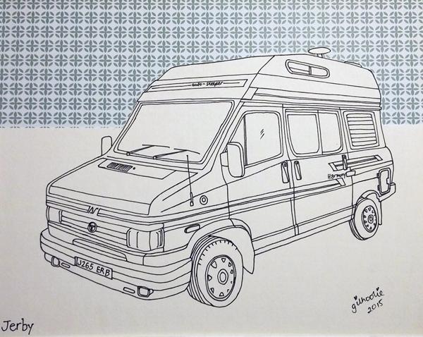 camper van drawing commission