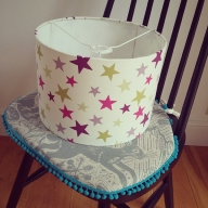 Multi coloured star lampshade