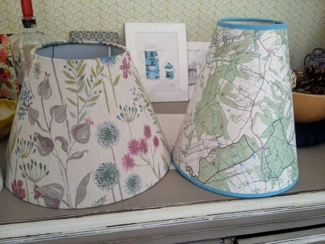 Tapered drum map lampshade