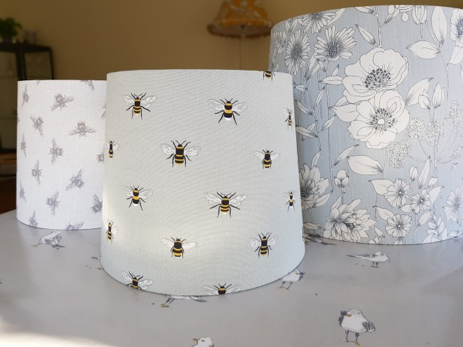 Tapered drum lampshades flowers and bees