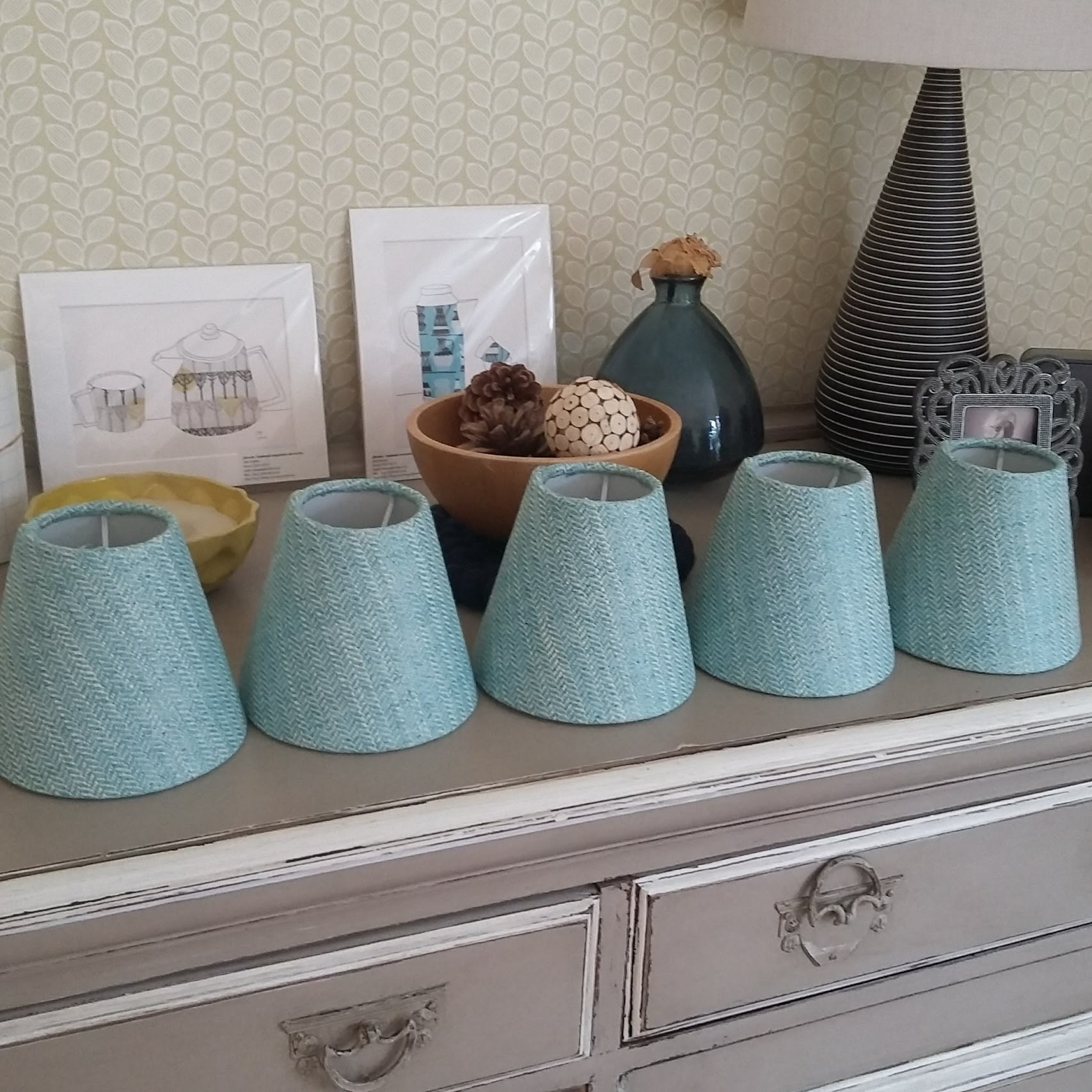 Small candle clip tweed lampshades