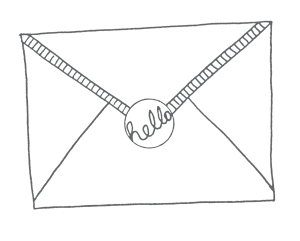 gilhoolie illustration envelope ink drawing