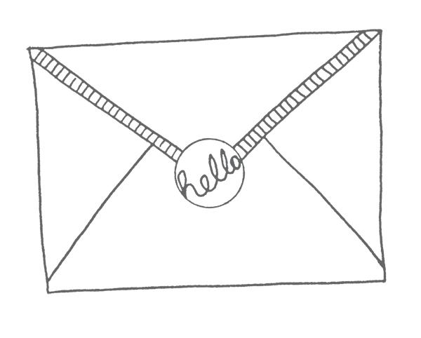 gilhoolie illustration envelope ink drawing