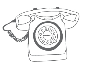 gilhoolie illustration old telephone ink drawing