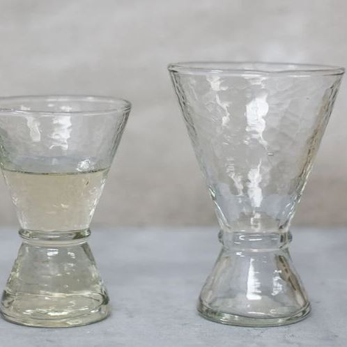 Clear hammered glass wine glasses from Nkuku