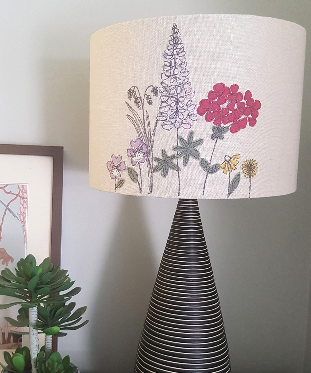 Machine embroidered flower lampshade by gilhoolie