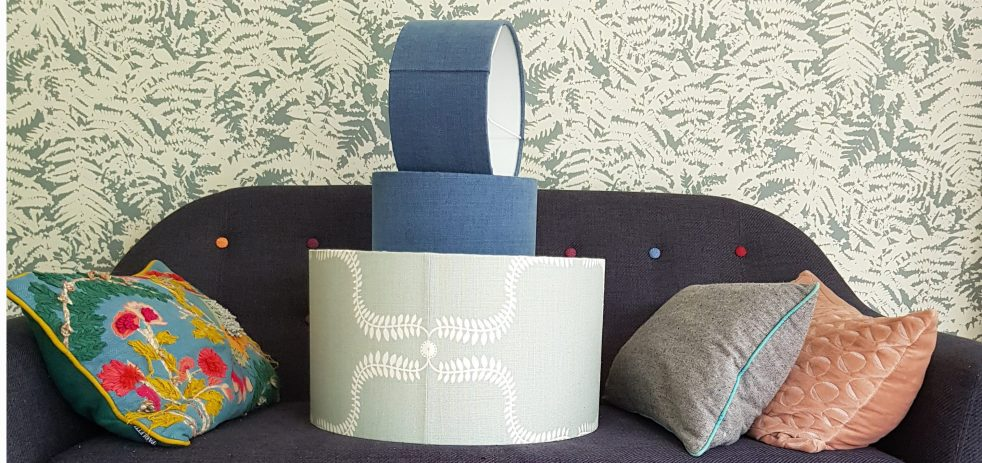 Bespoke lampshades on a sofa
