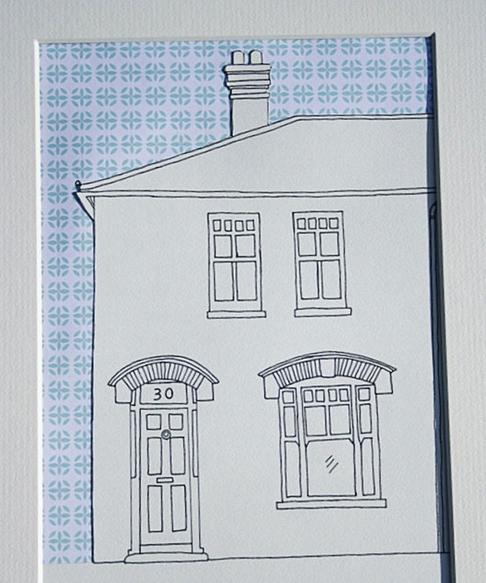 House portrait by gilhoolie with retro patterned sky