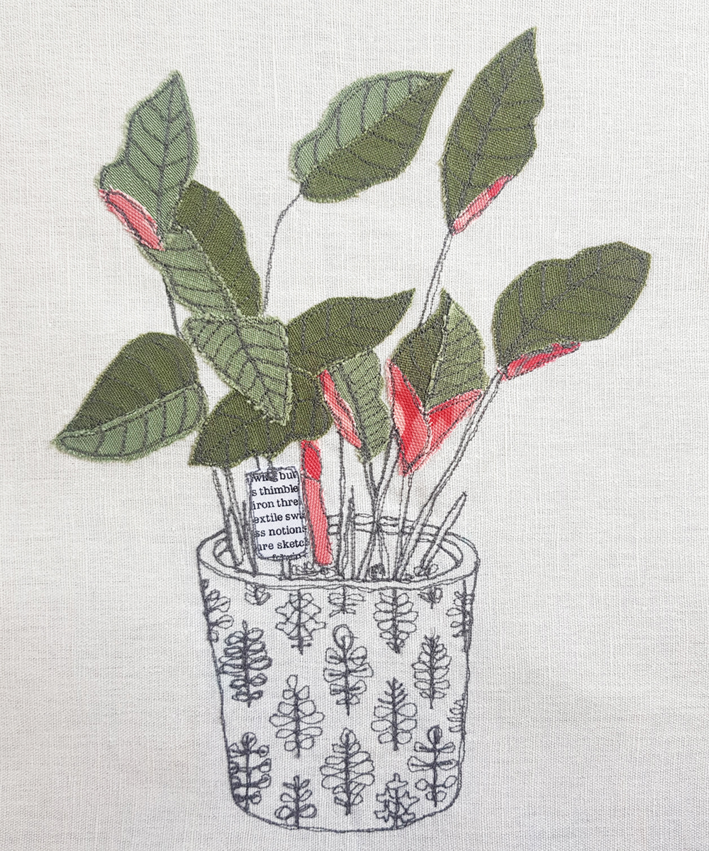 Machine embroidered houseplant illustration by gilhoolie