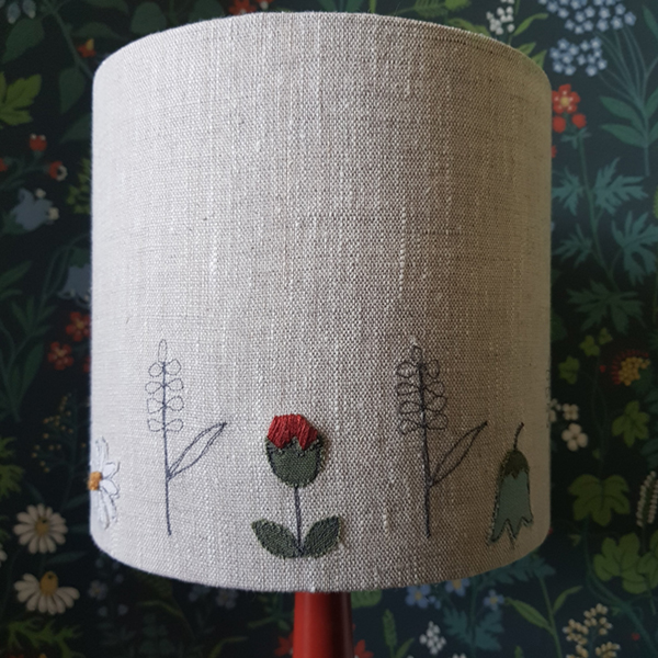 Small linen embroidered lampshade with flowers