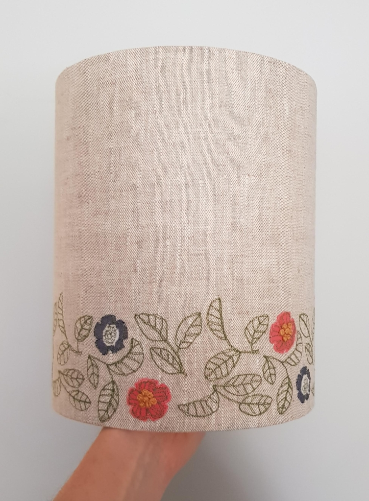 Machine embroidered floral lampshade