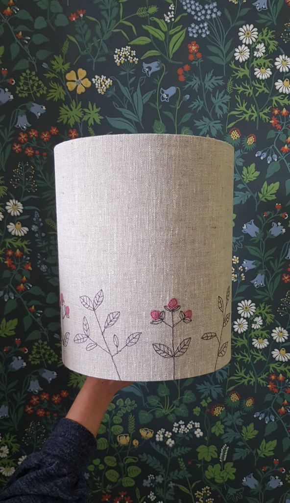 Machine embroidered lampshade with flowers